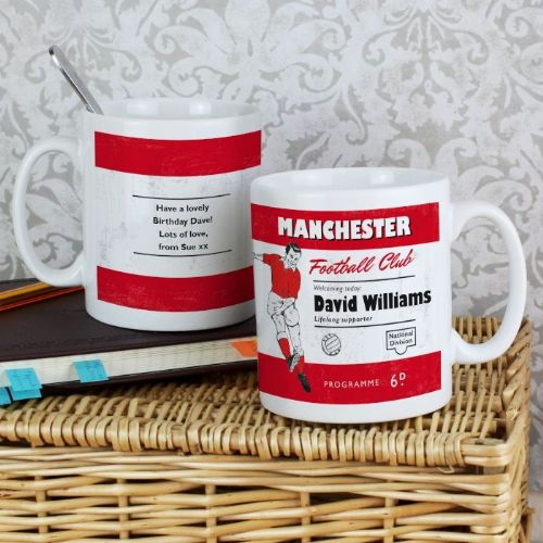 Personalised Vintage Red and White Football Supporter's Mug